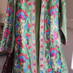 Embroidered silk long jacket